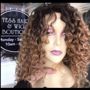 Curly ombré blonde brown wig Swisslace Lacefront